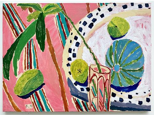 Rosa Roberts, Melon in a Wooden Bowl with Green Papayas and Mango