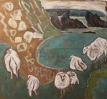 Ann Farley Ewe Lambs on the Cliff Path.j