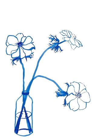 Lucy Wayne, Blue anemones in milk bottle