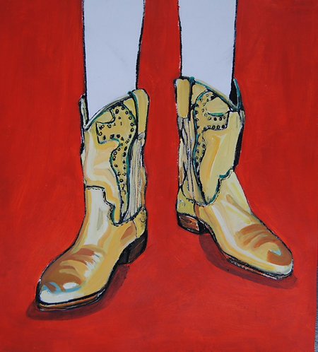 Lizbeth Holstein, Gold Boots on red