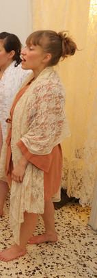 "Photo: Michal Revivo & Chana Rotband   from ""Salon Gurgulitza"", Musrara-Mix Festival,  Jerusalem  Costume designer: Angela Ribera  May 2019"