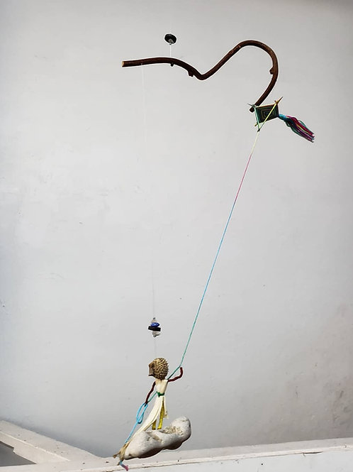 Standing on a cloud flying a kite