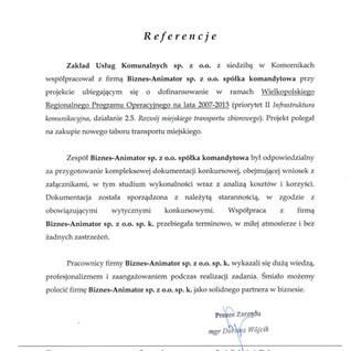 Referencje Zakład Usług Komunalnych w Komornikach