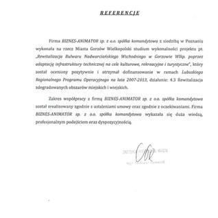 Referencje Miasto Gorzów Wielkopolski rewitalizacja
