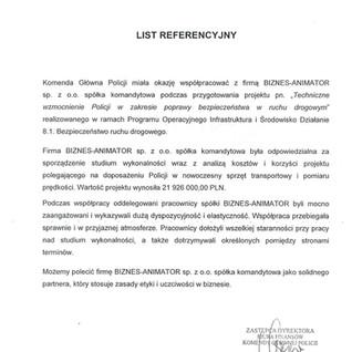 Referencje Komenda Główna Policji