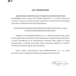 Referencje Ogólnokształcąca Szkoła Muzyczna I i II stopnia im. Karola Szymanowskiego we Wrocławiu
