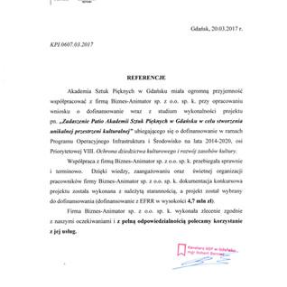 Referencje Akademia Sztuk Pięknych w Gdańsku