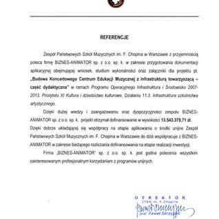 Referencje Zespół Państwowych Szkół Muzycznych im. F. Chopina w Warszawie