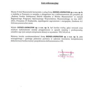 Referencje Miasto Mińsk Mazowiecki