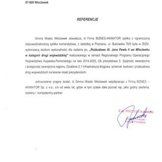 Referencje Gmina Miasto Włocławek droga wojewódzka