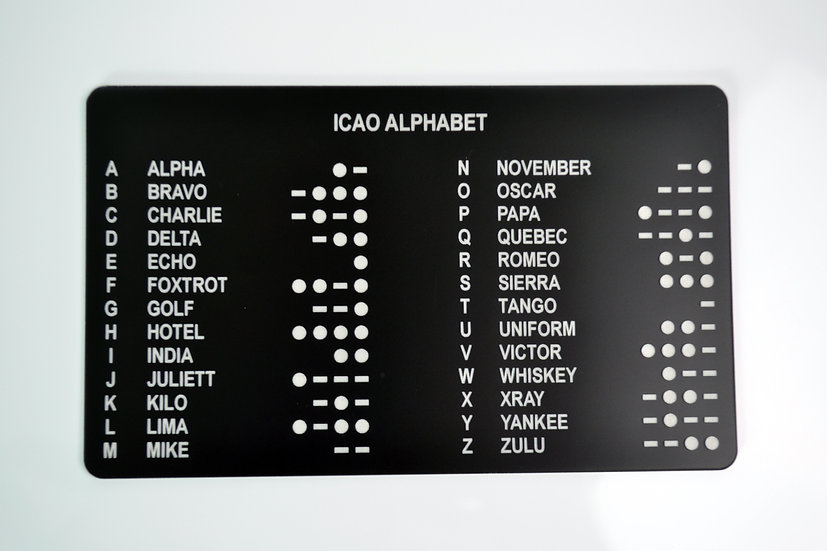 ICAO Alphabet aircraft placard