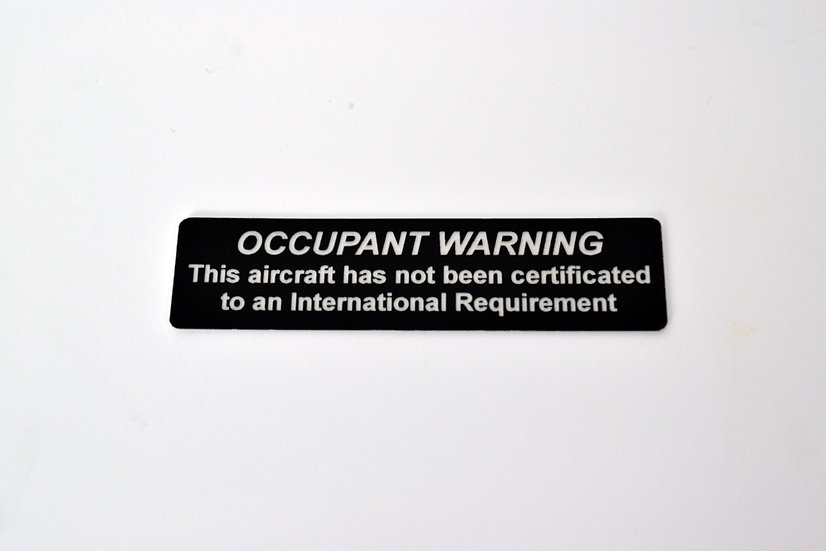 Permit to Fly Warning Aircraft Placard