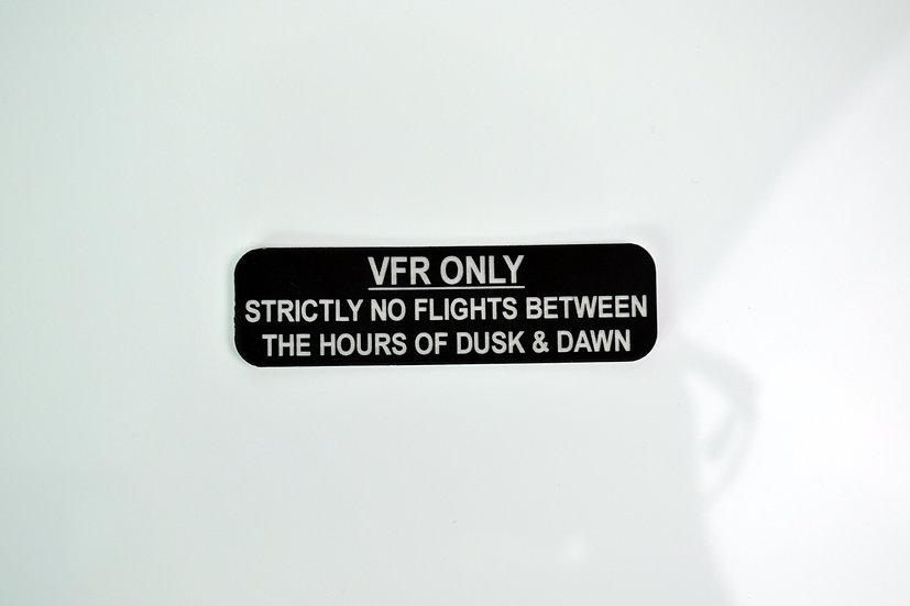 VFR Only aircraft placard