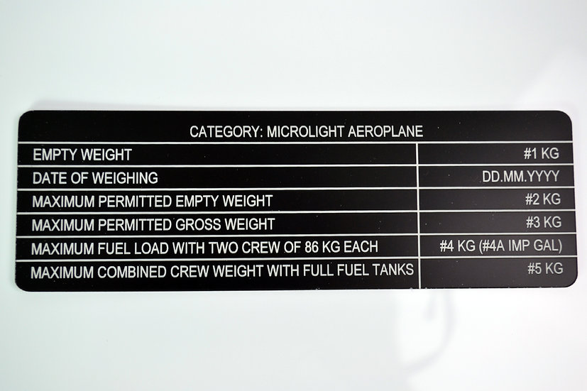 Weight Limitations Aircraft Placard