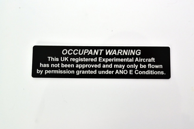 UK Experimental Warning aircraft placard