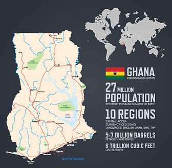 Map of Ghana showing key data