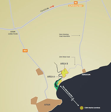 Map of Apam showing location of FIFC Apam Product Site