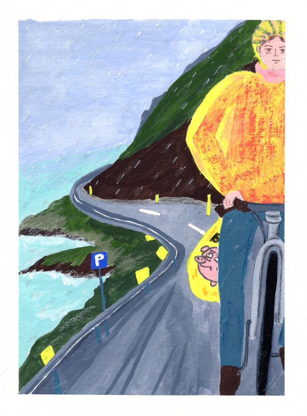 昏暗的天空飄著細雨,穿著黃色輕便雨衣,在峽灣公路上,沒有來車,沒有村莊,沒有羊群,原本計畫著騎完60公里可以早早收工,卻還有三四十公里才能抵達下一個露營區,這天摸黑抵達營區已逼近晚上十點,一夜長大!