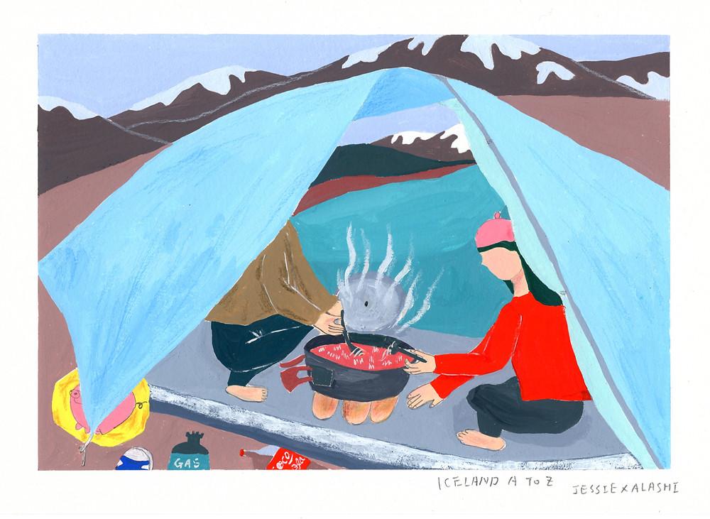 這篇靈感來自於在彩色山丘健行時,異想天開的煮好泡麵,把熱狗堡麵包墊在鍋下,想說可以加熱麵包,結果好難吃~~