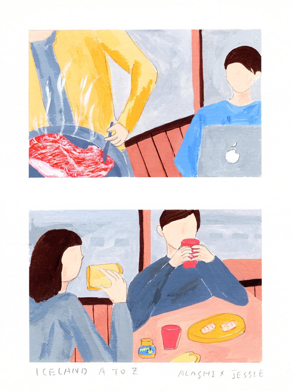 發覺自己畫了太多相似的場景,這篇是要表達,每次在露營區,外國人總是優雅地吃著麵包果醬和餅乾,但是我們老是想吃油煙很大的牛排羊排或是泡麵(看當天騎車累的程度,決定是否能有耐心的煮食~~哈