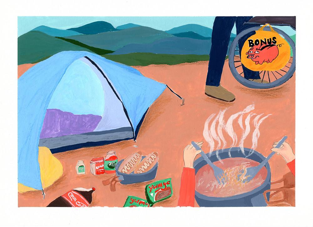 靈感來自於,搭好帳棚就想馬上吃到熱食,最快速的就是那最不健康的泡麵~~