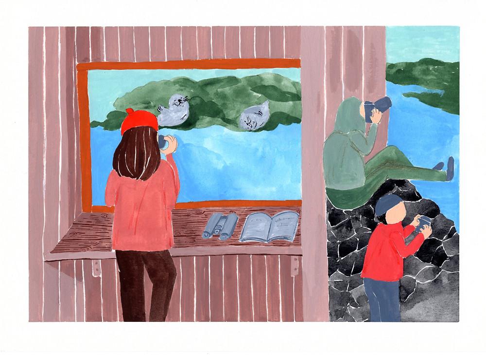 這篇靈感來自於在觀察小屋避風,用望遠鏡觀察離海岸前方,慵懶躺在礁岩上的可愛海豹們