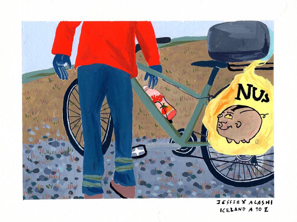 靈感是每次想喝水還是得停下,因為負重旅行無法像騎公路車一般,一邊抽水壺一邊喝水ㄧ邊騎車,每天來一瓶優酪乳保持腸胃暢通~~