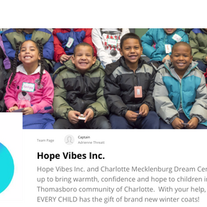 Help Hope Vibes provide kids in Charlotte warm coats for the Winter...