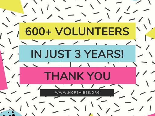 600 Volunteers ... Thank You!