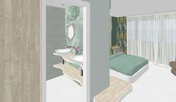 Entrada, zona de vestidor y acceso al baño