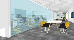 06 Vista del despacho para comerciales (10 puestos de trabajo) y zona colaborativa delante del mismo