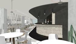 Vista de la barra cafetería hotel Eurostars Central