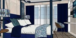 Zona de descanso habitación en suite. Cama con dosel