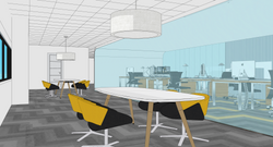 04 Detalle de las mesas de trabajo colaborativo delante del despacho de administración