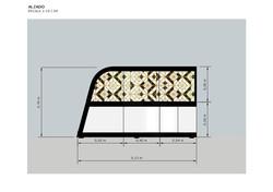 Diseño mueble multiusos. Banco y almacenamiento. Medidas