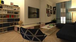 Sala de televisión vivienda señorial moderna