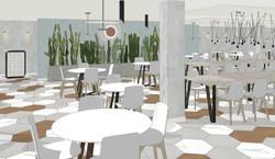 Vista comedor y recepción restaurante