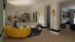 Salón y biblioteca vivienda señorial moderna