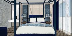 Vista frontal zona de descanso del dormitorio. Cama con dosel
