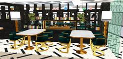 CAFETERÍA. Detalle librería separadora de espacios