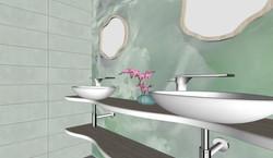 Lavabo doble con mueble a medida. Porcelánico Precious Stones - Green Marble