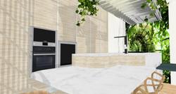06 Mesa cocina en isla y mural. Vista mural cocina.