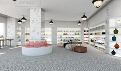 01Entrada tienda y zona de descanso y zona de exposición de producto en estantes
