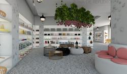 Tienda ecológica. Zona de producto en estanterías