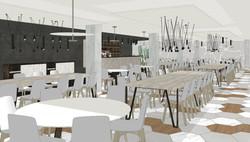 Buffet de desayunos, bar, cafetería, restaurante, coworking