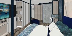 Vista hacia la zona de la ducha del dormitorio en suite