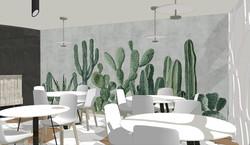 Detalle del mural de cactus