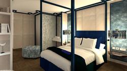Vista general dormitorio en suite. Cama con dosel