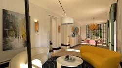 Salón  y comedor vivienda señorial moderna