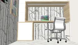 Diseño de espacio de trabajo personalizado. Vista zona de trabajo y almacenamiento cerrado